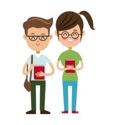 back to school boy and girl nerd students vector image vector image