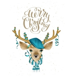 Christmas deer head in blue fashionable hat and vector image vector image