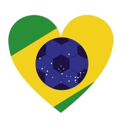 colorful silhouette with brazil heart vector image