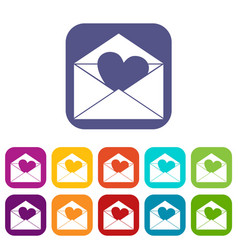 envelope with valentine heart icons set flat vector image