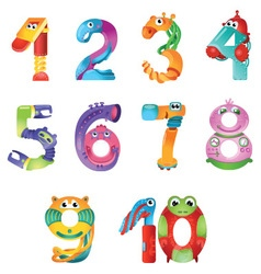 Numbers like robots in fairy style vector image vector image