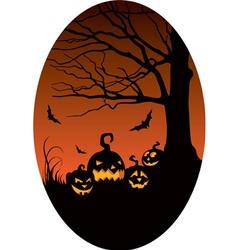 Pumpkins in Halloween night vector image vector image