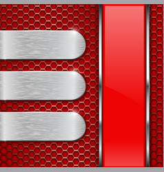 red background metal perforation with stainless vector image vector image