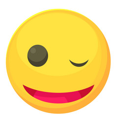 winking smiley icon cartoon style vector image vector image