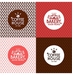 Bakery and coffee house seamless patterns vector image