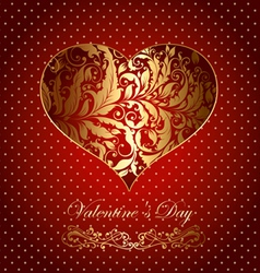 beautiful card with golden heart vector image vector image