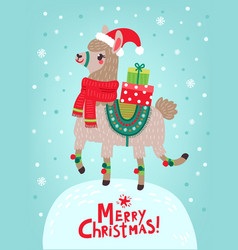 Christmas card llama vector