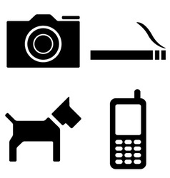 dog camera cigarette phone icons vector image