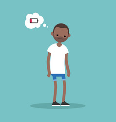 low battery conceptual young exhausted black man vector image vector image