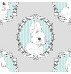 Rabbit in the frame Seamless background Hand vector image