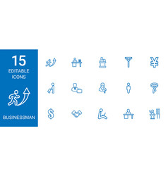 15 businessman icons vector