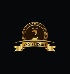 2nd years anniversary logo template design vector