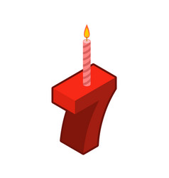 7 number and candles for birthday seven figure vector image