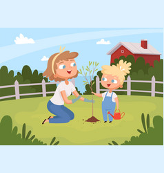 adults help planting kids with parents planting vector image