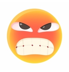 Angry emoticon icon in cartoon style vector