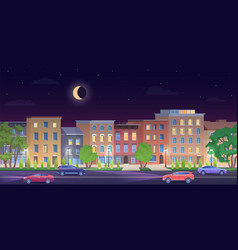 architecture building in new york streets at night vector image