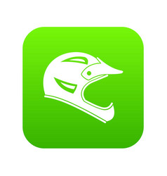 bicycle helmet icon digital green vector image