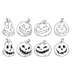 Black and white halloween pumpkins vector