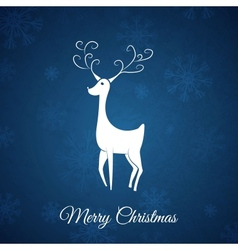 Blue Christmas postcard whit christmas deer vector image