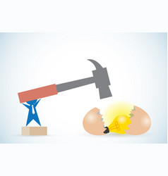 businessman holding hammer to break egg vector image