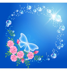Butterfly and flowers vector image