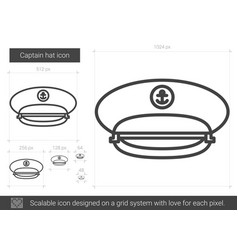 Captain hat line icon vector