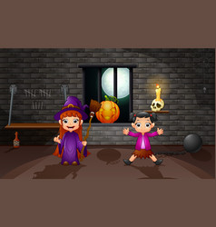 cartoon little witch in the house vector image