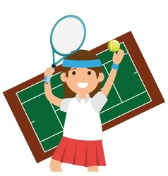 character girl tennis racket court vector image