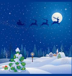 christmas tree and santa sleigh vector image