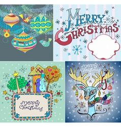 color Christmas card set vector image