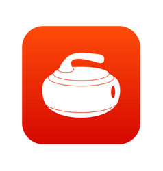 Curling stone icon digital red vector