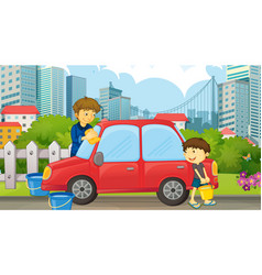 Dad and son cleaning car vector