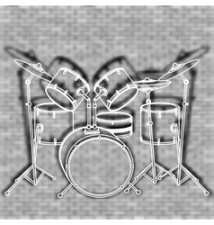 drum set against the backdrop of a brick wall vector image