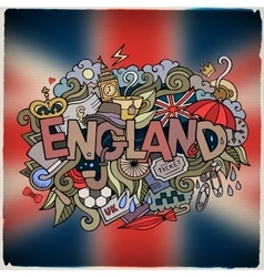England country hand lettering and doodles vector image