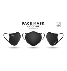 Face mask fabric black mock up front and side vector