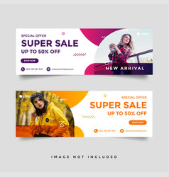 Fashion sale facebook cover banner ad design vector