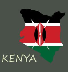 Flag map of kenya vector