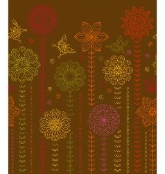 Floral border background made of many flowers vector image