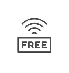 free wi-fi line outline icon vector image