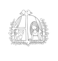 Girl and cat at the window vector