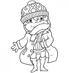 Girl in winter dress vector