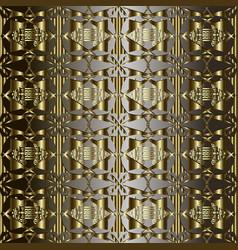 gold ornate 3d geometric 3d greek seamless vector image