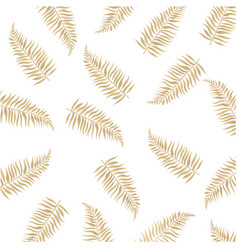 gold palm leaves isolated white background vector image