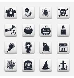 Halloween icons web buttons set vector