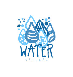 Hand drawn patterned water droplets for logo with vector