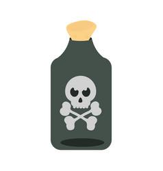 happy halloween potion bottle with creepy skull vector image