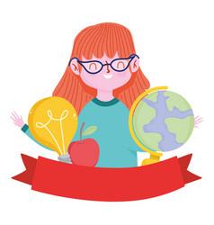happy teachers day teacher cartoon school map vector image
