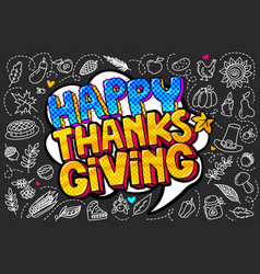happy thanksgiving message in pop art style vector image