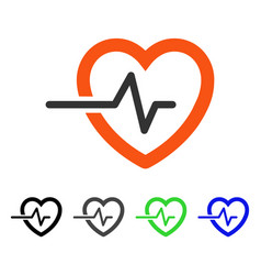 Heart pulse flat icon vector