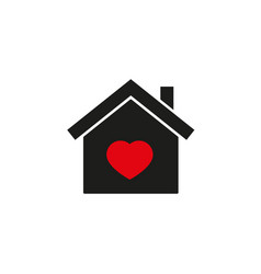 home with red heart icon vector image